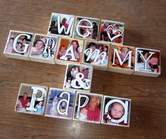 Waste Not Recycled Art- Photo Letter Blocks... custom made with your digital pics!