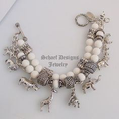 Schaef Designs White Coral & Sterling Silver Endangered African Animal Charm Bracelet | Totem animal jewelry | New Mexico