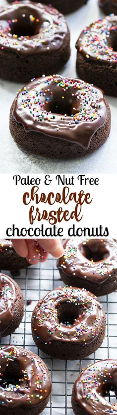 These rich chocolate frosted chocolate donuts are an easy and crazy delicious Paleo dessert!   Kids love them and they're fun to make.   No one would guess these chocolate donuts are gluten free, dairy free, paleo and even nut free.