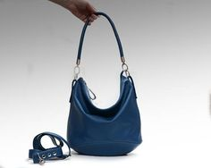 Blue Leather hobo bag women s handbag shoulder strap crossbody leather  purse zippered tote Slouch Hobo Bag Soft Leather Casual Purse 6dba6d62bcc9f