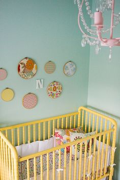 Painted Jenny Lind crib + painted chandelier