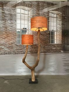 Double Floor Lamp made of weathered old oak tree by GBHNatureArt