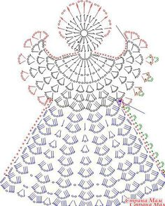 Tricô e Crochê - Knitting and Crochet: Enfeite de Natal em Crochet - Anjo Natalino Crochet Angel Pattern, Crochet Angels, Crochet Diagram, Crochet Chart, Thread Crochet, Crochet Motif, Crochet Flowers, Knit Crochet, Crochet Fabric