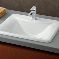 Cheviot Products Bali Vitreous China Rectangular Drop-In Bathroom Sink Corner Sink Bathroom, Drop In Bathroom Sinks, Drop In Sink, Wall Mounted Bathroom Sinks, Undermount Bathroom Sink, Steam Showers Bathroom, Bathroom Basin, Bathrooms, Bathroom Ideas