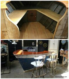 Boat bar from reclaimed wood and an old boat- this is so cool!