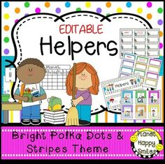 This is a set of 66 classroom jobs plus table captains in a Bright Polka Dots and Stripes theme that you can use in your classroom. There is a header that you can put above the cards. You can decide which jobs that you use in your class. They can be stapled to a bulletin board or used in a pocket chart.