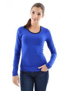 Dámske tričko - Dámske tričká s dlhým rukávom - Dámske tričká - Dámske oblečenie - JUSTPLAY Celebrity, Pullover, Sweaters, Blue, Fashion, Moda, Fashion Styles, Celebs, Sweater