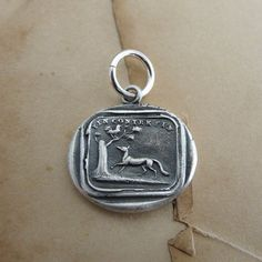 Antique French wax seal charm with Aesop fable fox