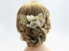 Ivory Floral Hair Comb with Skeleton Leafs  by PaperGardenGallery
