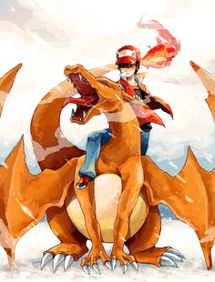 Team Red.  Charmander & Ash  Pokemon