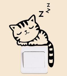 Cat Zzz Wall Sticker Light Switch Decor