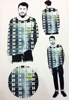 Men's fashion illustrations at the Manchester Met Degree Show