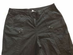 Style and Co Women's Black Slight Stretch Multi-Pocket Zip Front Capri 16W…