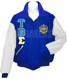 Tau Beta Sigma Varsity Letterman Jacket with Greek Letters and Crest, Royal Blue/White  Item Id: PRE-VJ-TBS-BASIC-LTR-CREST-RBLU_WHT  Price:  $349.00