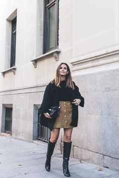 High Boots Suede Skirt Iro Paris Black Jacket Off The Shoulders Sweater Outfit Street Style 17 Moda Do Momento, Fashion Boots, Fashion Outfits, Fashion Clothes, Women's Fashion, Suede Skirt, Couture, Color Negra, Dress Brands