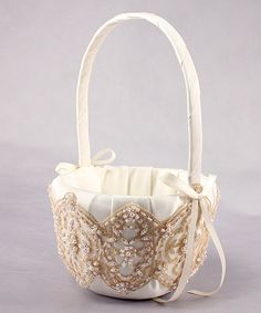 Weddingstar 505879 Beverly Clark The Luxe Collection Flower Girl Basket  Ivory