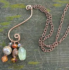 Copper Hand Forged Swirl Gemstone Necklace NOW AVAILABLE at www.whimsicaloffshoot.com #handforged #copper #necklace #likeusonfacebook #thewhimsicaloffshoot #prehnite #jasper #freeshippingeveryday