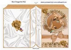 Pretty brown birds in flight with roses and bow folded book on Craftsuprint - Add To Basket!