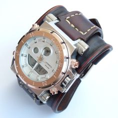Mens wrist watch leather bracelet, Steampunk Watch, Gifts for Him, Military Watch, Watch Strap, Watch Band