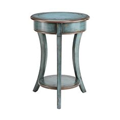 Hand-Painted Turquoise and Bronze Accent Table