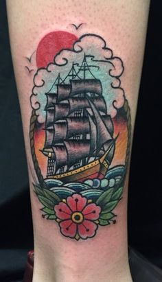 Ship tattoo old school