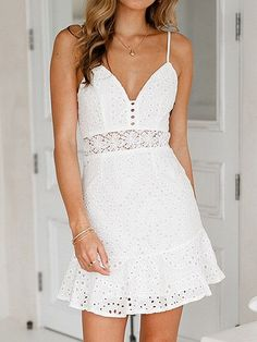 f647bba9947 White Spaghetti Strap V-neck Lace Mini Dress - Choies.com
