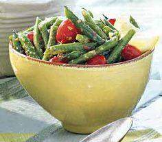 Green Bean and Grape Tomato Salad with Kalamata Vinaigrette