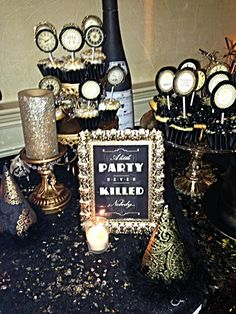 New Years Eve- Black and Gold Theme Dessert Table