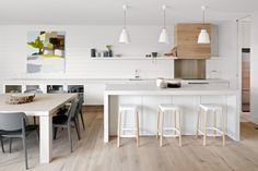 kitchen combinations - art in the kitchen, horizontal paneling for backsplash to give texture.