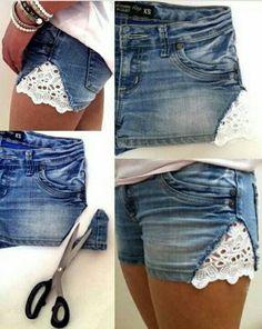 DIY denim lace short