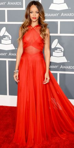 Grammys 2013: Rihanna in a custom Azzedine Alaia dress that she sported with Neil Lane jewelry.