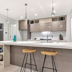 Love this kitchen from SV Built in SA. A large bench area for lots of prep room and great central hub for entertaining. We really love the Teknobili Flag sink mixers. One of our all time faves!