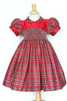 77d9c54af4cdd Love it for her fist Christmas! Girls silk tartan Christmas day dress – Carousel  Wear