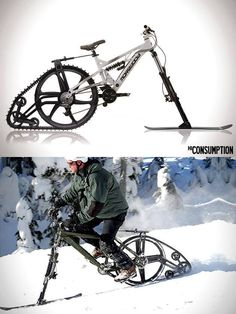 KTRAK Snowmobile Mountain Bike Kit. omg i want this for the winter time. no more putting my baby away for 7/8 months of the year. :D