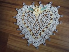 New Handmade Crochet Heart Daffodil Doily w/ Crystal Glass Beads