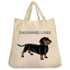 "Black and Tan Dachshund Color Full Body ""Dachshund Lover"" Design Extra Large Eco Friendly Reusable Cotton Canvas Tote Bag"