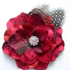 Rockabilly red flower with feathers and rhinestones- centre flower for wedding fan bouquet?