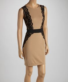 """Mocha & Black Lace Sheath Dress"" maybe I could make something similar longer and in my skin tone. slimming"