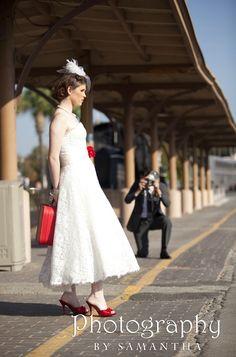 photo shoot out for San Antonio wedding magazine.  Train depo tracks. www.photographybysamantha.com bride with red shoes Samantha Wedding, Red Shoes, San Antonio, Photo Shoot, Flower Girl Dresses, Wedding Photography, Train, Magazine, Weddings