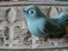 bird cabinet knobs, drawer pulls, 4 bird knobs NEW COLOR Robin's egg blue