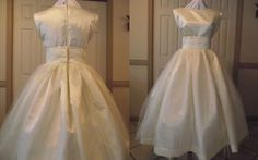 Wedding Dress - Audrey Hepburn Wedding Gown - Retro Wedding Dress - Tea Length Bridal Gown - Satin Bridal and Tulle Dress - Custom Size    This