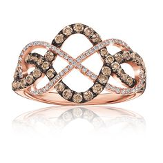 Champagne & White ¾ ct. t.w. Diamond Ring in 14k Rose Gold