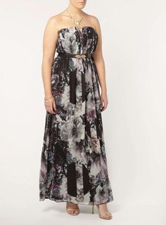 Little Mistress Rose Print Bandeau Dress - Dresses - Clothing - Evans