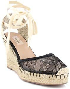4e6cb27d8708 Valentino - Black Lace Espadrille - Lyst. Lace EspadrillesBow ShoesWedge ...