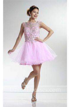 Cute Bateau Neckline Cap Sleeve Short Pink Tulle Beaded Cocktail Prom Dress Bridesmade Dresses, Prom Dresses 2017, Prom Dresses For Sale, Prom Dresses With Sleeves, Formal Dresses, Cocktail Dress Prom, Pink Tulle, Bateau Neckline, Pink Shorts