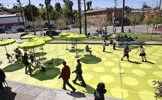 A section of Griffith Park Boulevard between Maltman Avenue and Edgecliffe Drive in Silver Lake has been closed to traffic and turned into Sunset Triangle Plaza, an unusual park space billed as L.A.'s first street-to-plaza conversion designed for pedestrians, cyclists and outdoor dining. (Brian van der Brug / Los Angeles…)