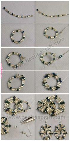 seed bead necklace patterns for beginners Beaded Necklace Patterns, Beaded Bracelets Tutorial, Earring Tutorial, Beading Patterns, Bead Earrings, Earrings Online, Bead Jewellery, Diy Jewelry, Beaded Bracelets