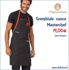 Grembiule cuoco MASTERCHEF nero/arancio solo a 19,00€. Acquistalo ORA su www.rbdivise.it!