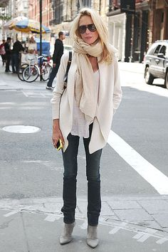 white blazer, white shirt, cream scarf & denim. uniform.