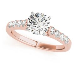 Engagement Ring -Classic Cathedral Diamond Bridal Set in Rose... ($1,810) ❤ liked on Polyvore featuring jewelry, rings, diamond bridal rings, rose gold diamond ring, rose gold wedding rings, bridal wedding rings and bridal rings
